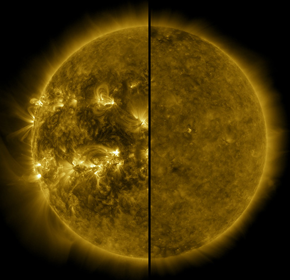 A complete disk of the Sun split into two images down the middle, with the left side showing right loops and a varied solar surface, and the right side showing a more uniform, inactive solar surface
